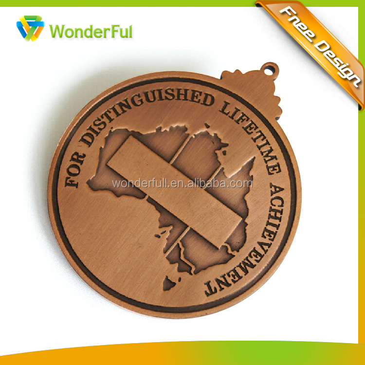 Reliable OEM Factory Customized Sports Style Antique Bronze Finished Custom Made Engraved Logo Brushed Old Metal Medal