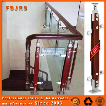 Fsjrs Foshan Stair Designs Indoor Wooden Handrail Balcony Glass ...