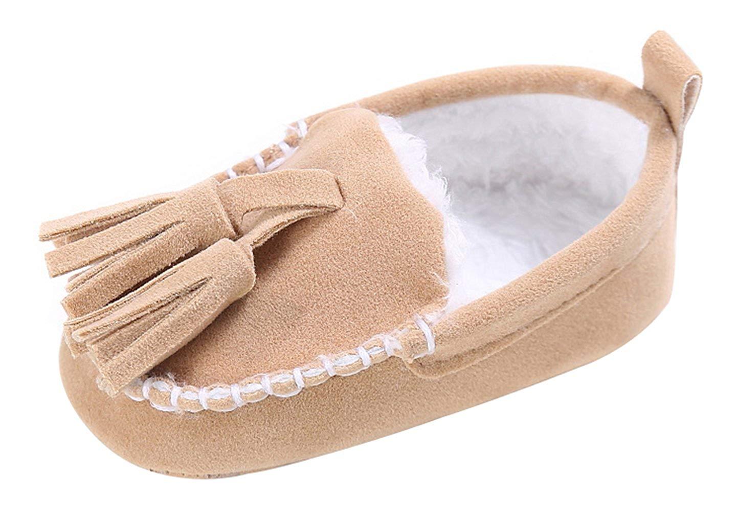 5ff8160f1d1 Get Quotations · La Vogue Baby Tassels Walking Shoes Winter Plush Soft  Cotton Shoes