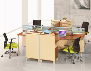Glass Partition Modular Office 4 Person Workstation Office Furniture Workstation