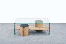 12mm curve hot bending glass with two stool coffee table