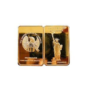 1 oz 100 Mills.999 Fine Gold Clad Statue Of Liberty Bullion Bar