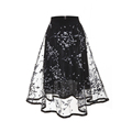 Printed mesh skirt 2018 spring and summer new high waist was thin large a word floral pettiskirt long female