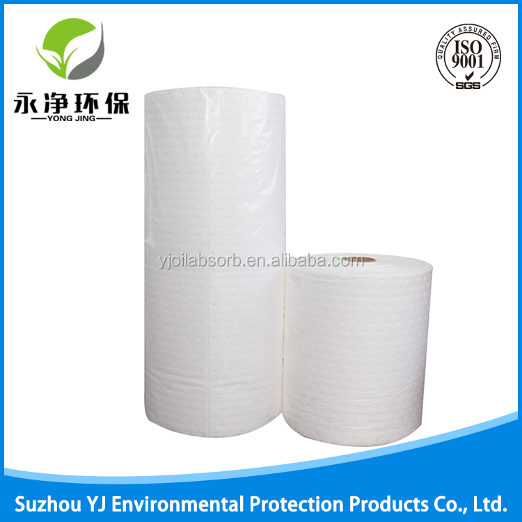 100% Polypropylene White Oil Liquids Absorbent Roll