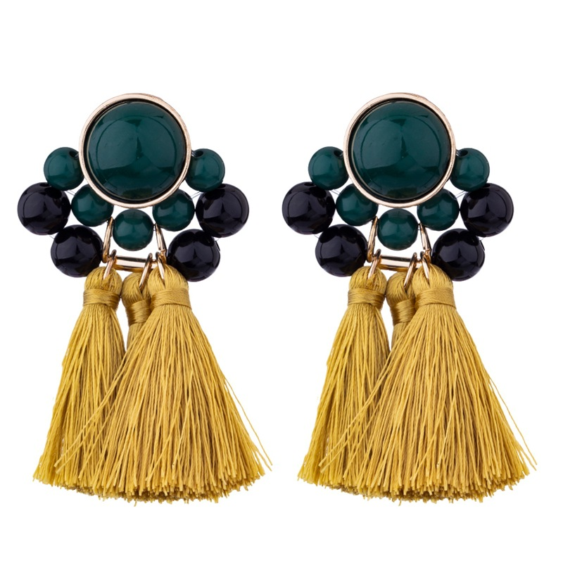 Fashionable Exaggerated Bohemia <strong>Gold</strong> Metal Yellow Tassel Bead Silk Boho <strong>Flower</strong> <strong>Earring</strong> For Women