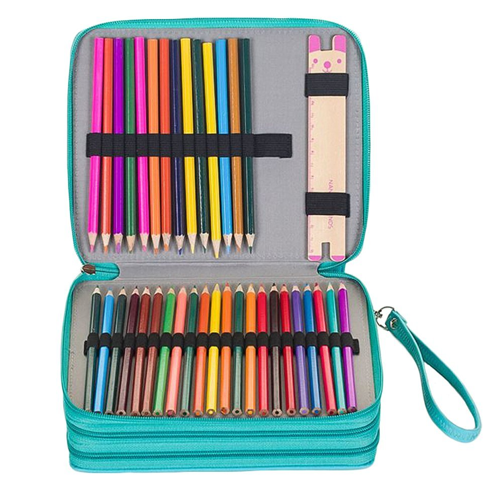 Miraclekoo 120 Slots PU Leather Pencil Holder Pencil Case Large Capacity Multi-layer Pencil Bag (Turquoise)