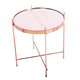 Round Tea Mirror Coffee Table with Metal Rose Plating Frame