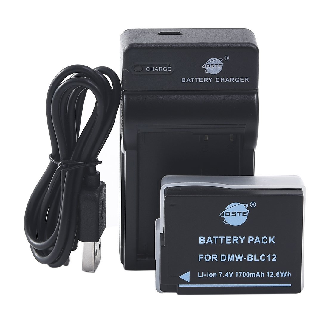 DSTE DMW-BLC12E Li-ion Battery and Micro USB Charger Suit for Panasonic Lumix DMC-G5 DMC-G6 DMC-G7 DMC-GH2 DMC-FZ200 DMC-FZ200GK DMC-FZ1000