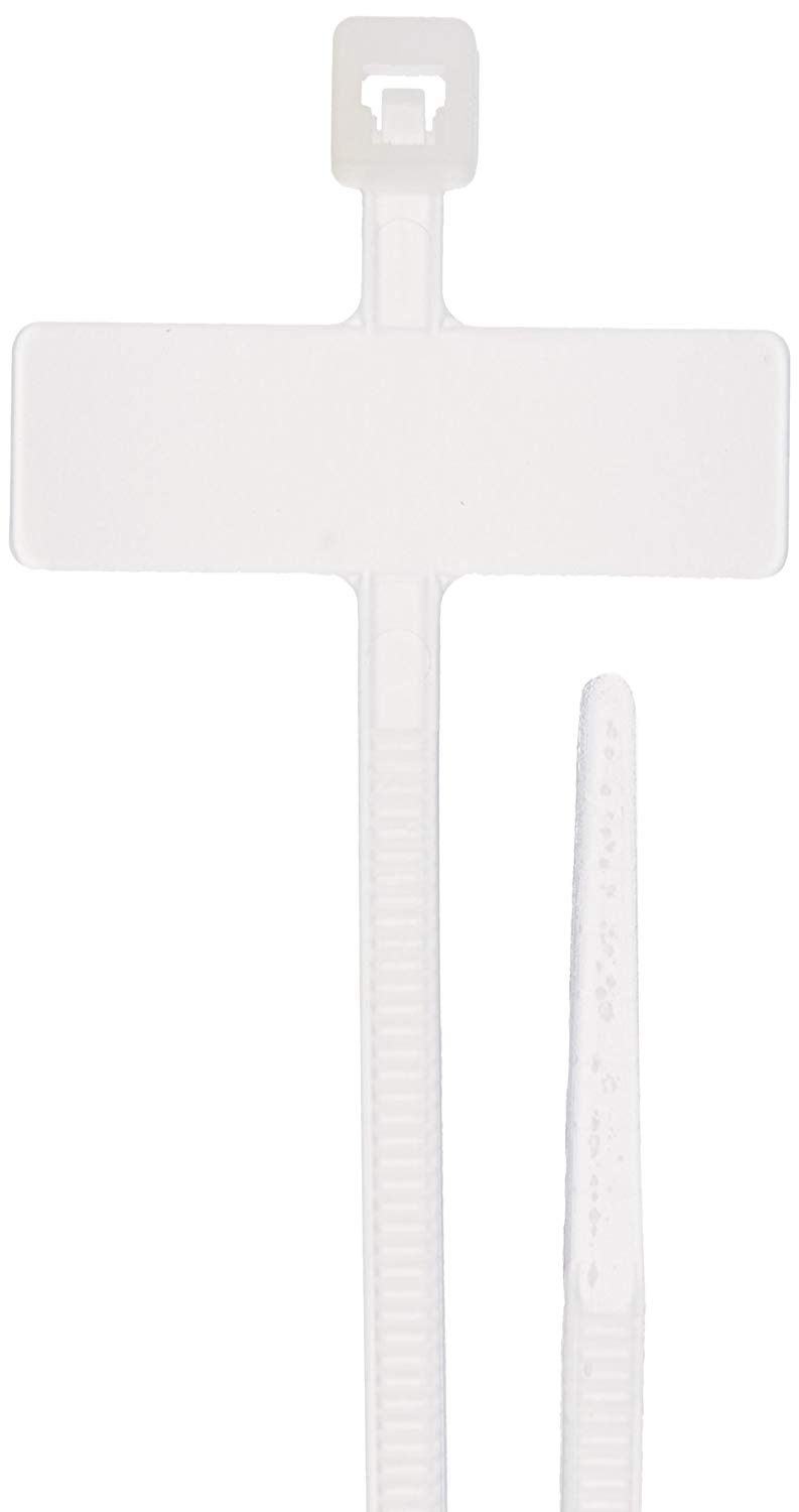 "Identification Marker Vertical Cable Tie, 18lbs Tensile Strength, 3/4"" Bundle Diameter, 0.312"" x .973"" Marker, 0.100"" Width, 4"" Length"
