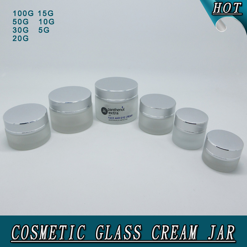 full set of frosted packaging aluminum cap cosmetic jar glass