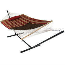 HR New Desgin Rope Hammocks Combo With Net With Stand Quilted Mat With One Pillow Hard Wood Ba In Winter