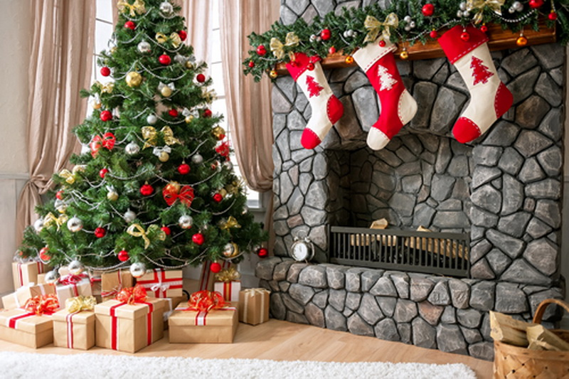 Indoor Fireplace Christmas Tree Photography Background: Aliexpress.com : Buy 7x7ft Christmas Backdrop,Fireplace