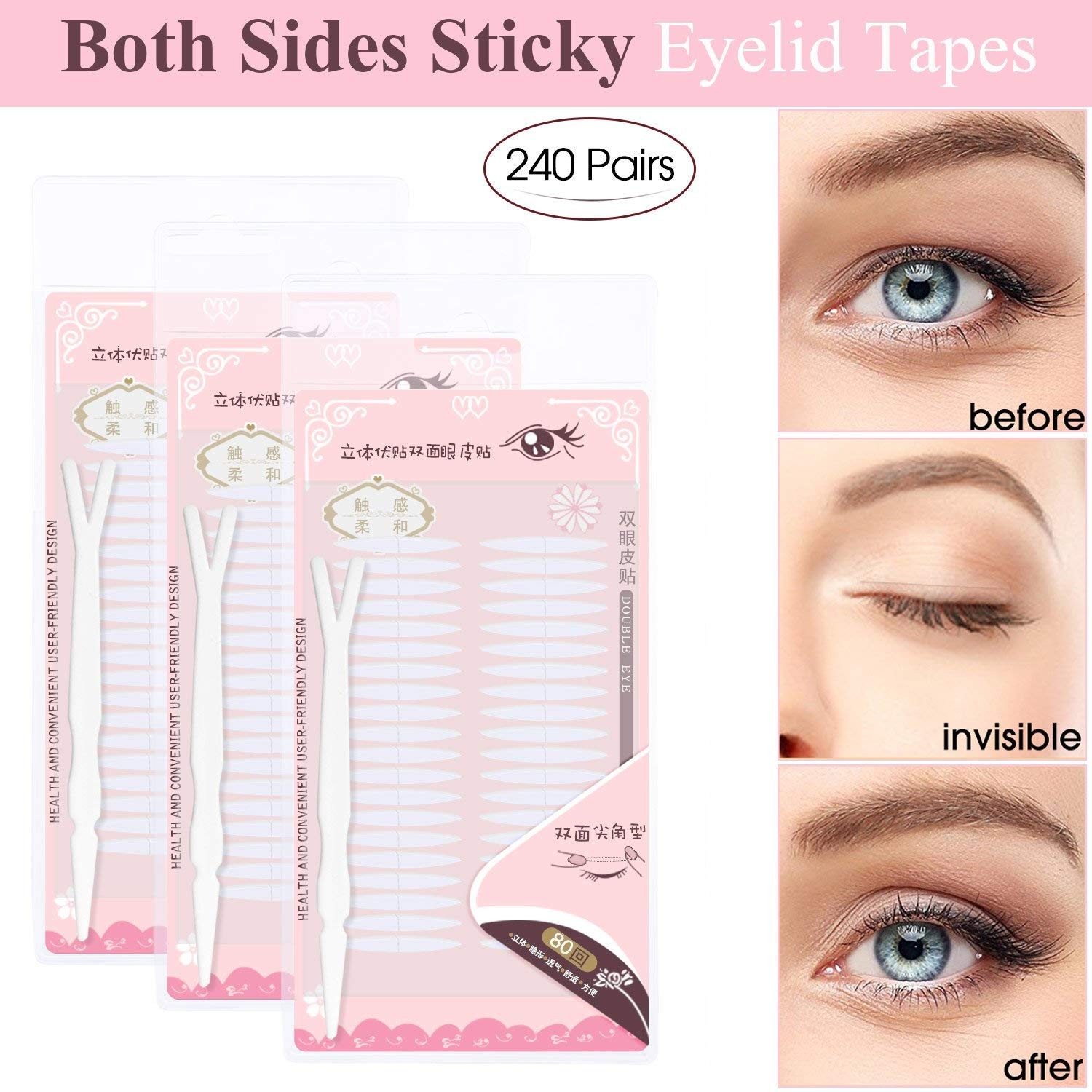Buy 240 Pairs Invisible Double Side Sticky Eyelid Tapes Stickers