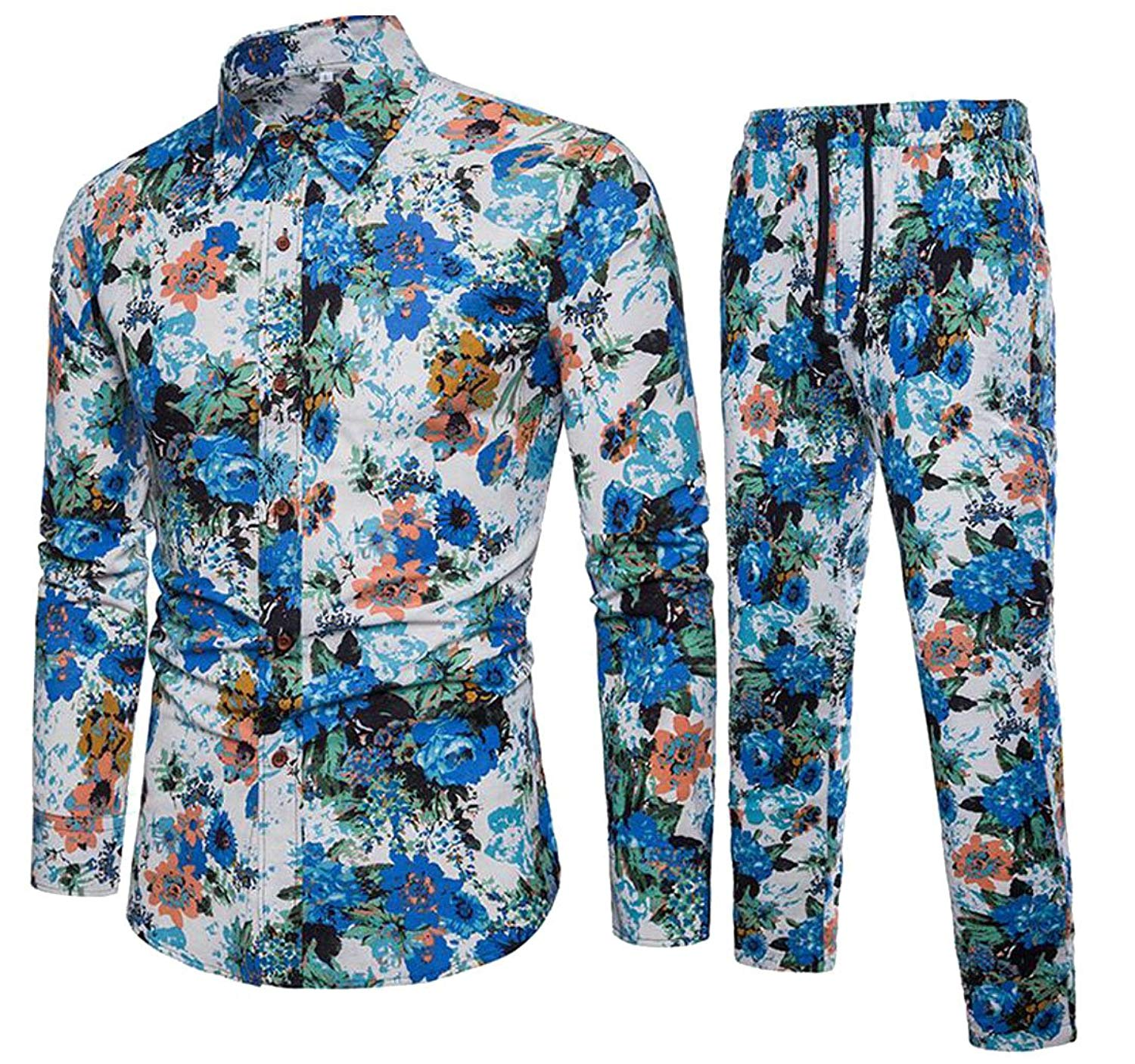 Jofemuho Men Linen 2 Pcs Set Loose Shirt & Harem Pants Floral Print Casual Outfits