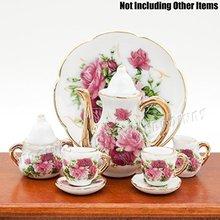 1:6 8PCS Dollhouse Porcelain Rose Tea Cup Set Miniature Beauty Flower Ceramic Decor for  1/12 Dollhouse Miniatura