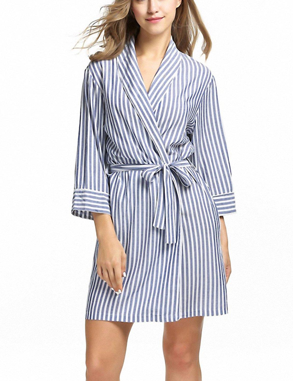 da47236b492 Get Quotations · Ekouaer Striped Sleepwear Robe Women s Dressing Gown  Casual 3 4 Sleeve Summer Sexy Women Spa