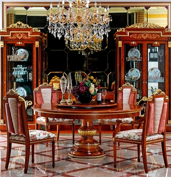 M38 Italian Royal Clic Solid Wooden Luxury Granite Top 59 Inch Round Dining Table Set With