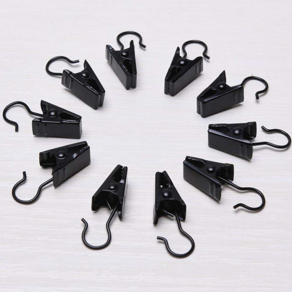Lvcky 100 Pack Stainless Steel Curtain Clip Small String Party Lights Hanger Wire Holder Home Decoration, Photos, Art Craft Display Outdoor Activities Supplies (Black)