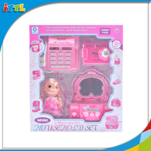 New product 2014 funny baby home play set dressing table cash register and camera mini electric toy