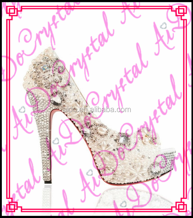 Aidocrystal high quality custom made open toe high <strong>heels</strong> elegant ivory bridal wedding shoes