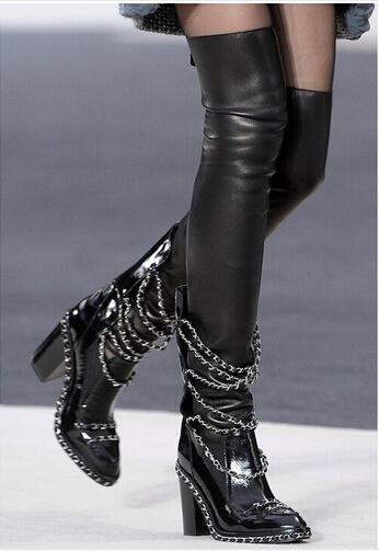 10a72b228a2 Women Thigh High Leather Boots   Tsaa Heel