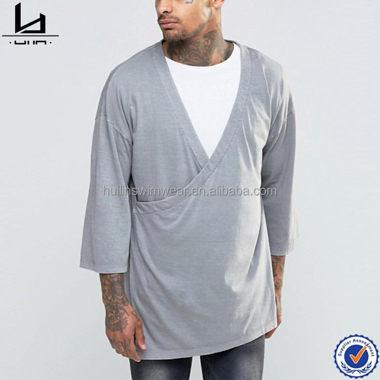 Japanese plain cotton kimono sleeve t shirt custom men oversized t shirt with double layer