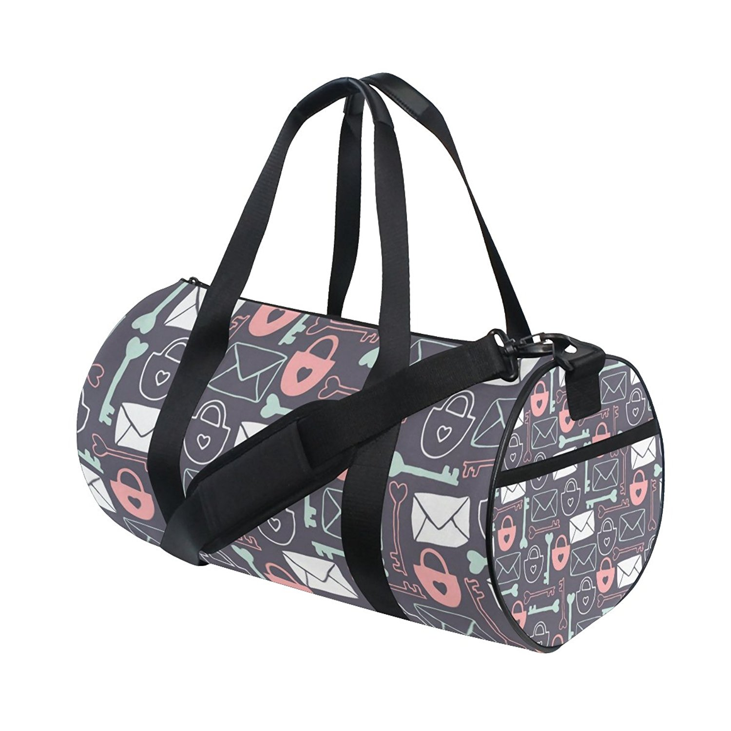 Gym Bag Key Lock Pattern Sports Travel Duffel Lightweight Canvas Bag