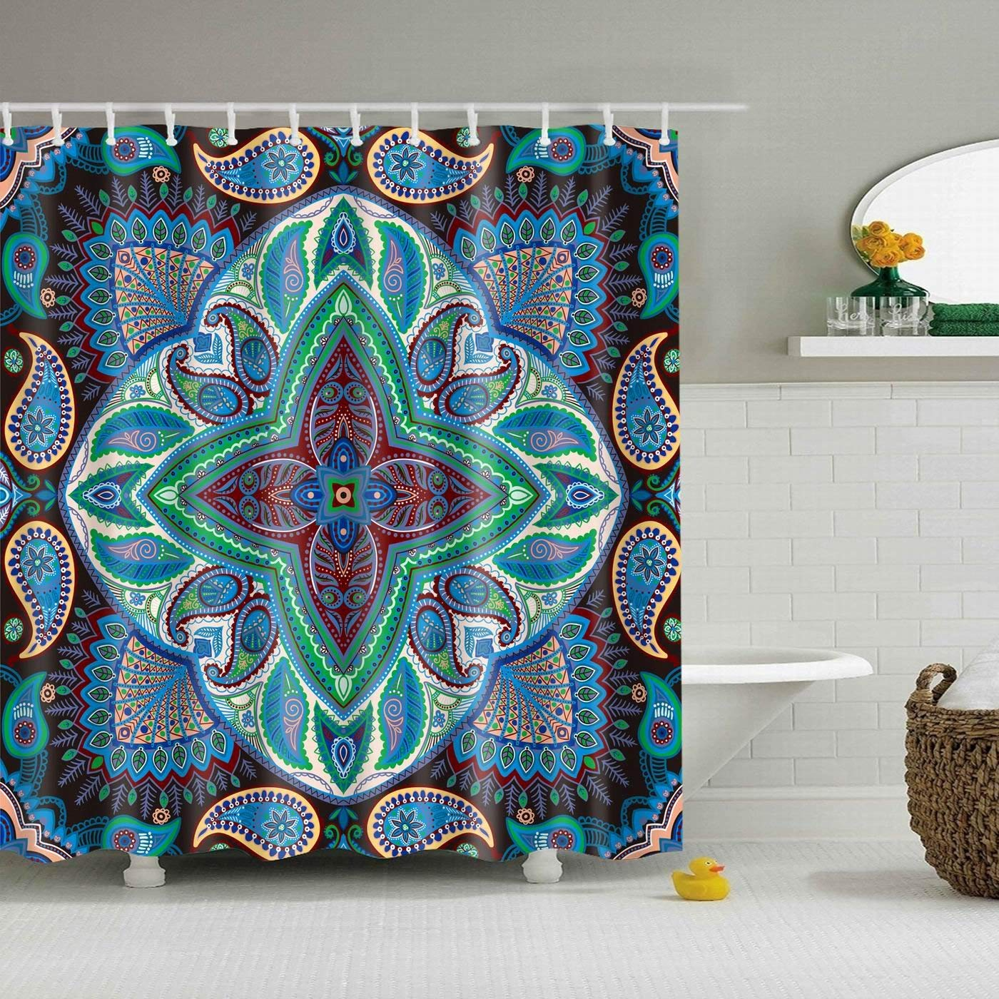 bab36e88177e2 Inter Decor Psychedelic Decor Shower Curtain Set, Paisley Floral Patterns  With Psychedelic Motif Boho Hippie