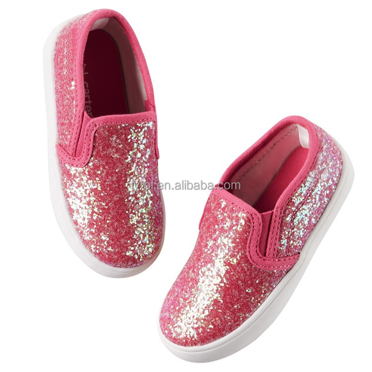 2016 wholesale cheap price solid glitter upper pvc outsole cute funny boys&girls kids injection canvas casual shoes
