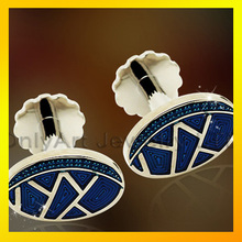 oval shape blue colour cufflinks high quality cufflinks