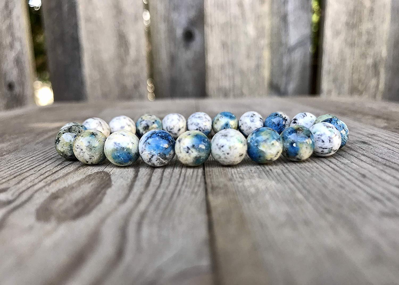 K2 Granite Bracelet 8mm Round Blue and White K2 Jasper Bead Bracelet