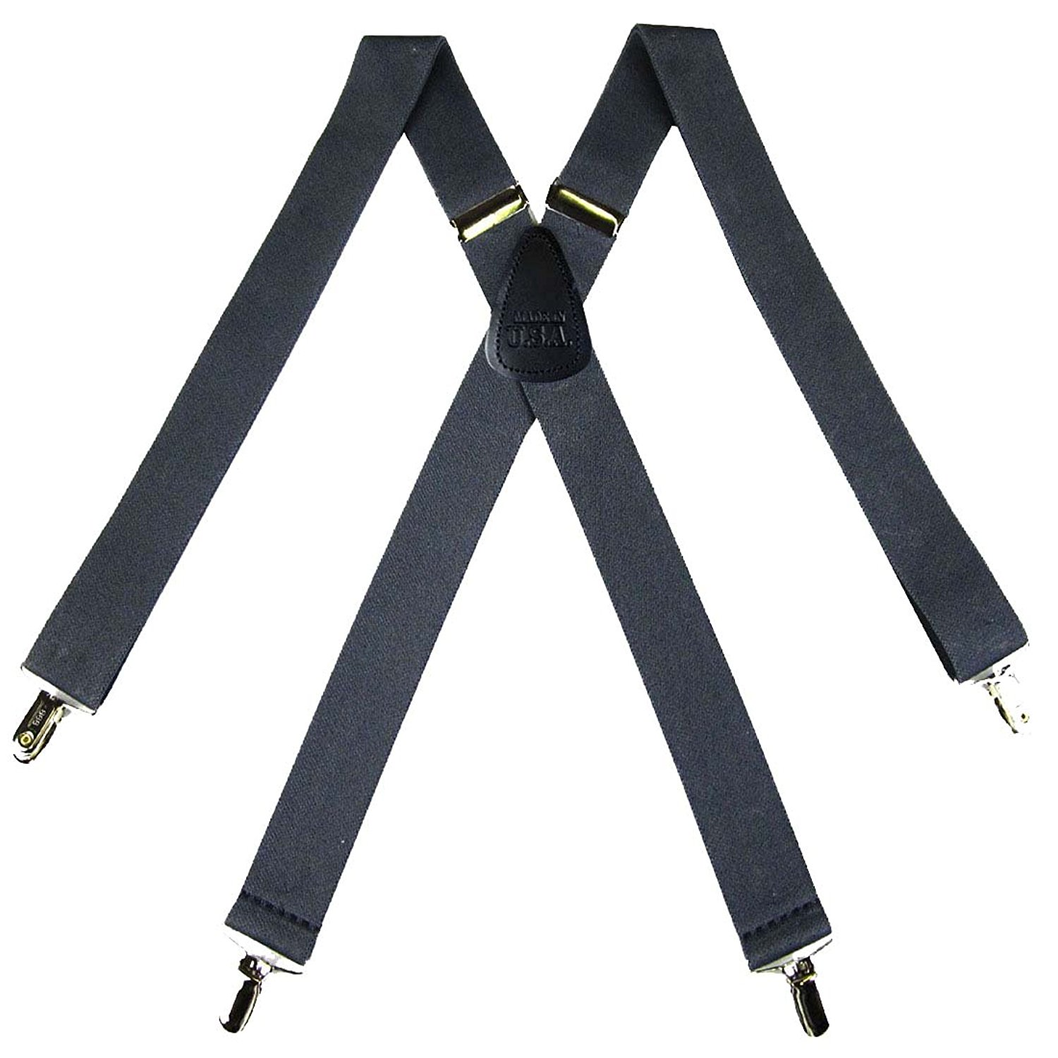 8e4758081aa Get Quotations · Solid Suspender for Men Made in USA X-Back Genuine Leather  Trimmed clip end tuxedo