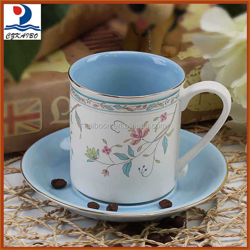 Elegant European design porcelain blue flower tea cup set/coffee cup set to export