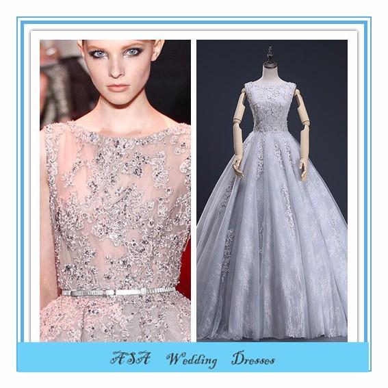 High Quality Silver Lace Applique Real Design Bridal Dress Bridal ...