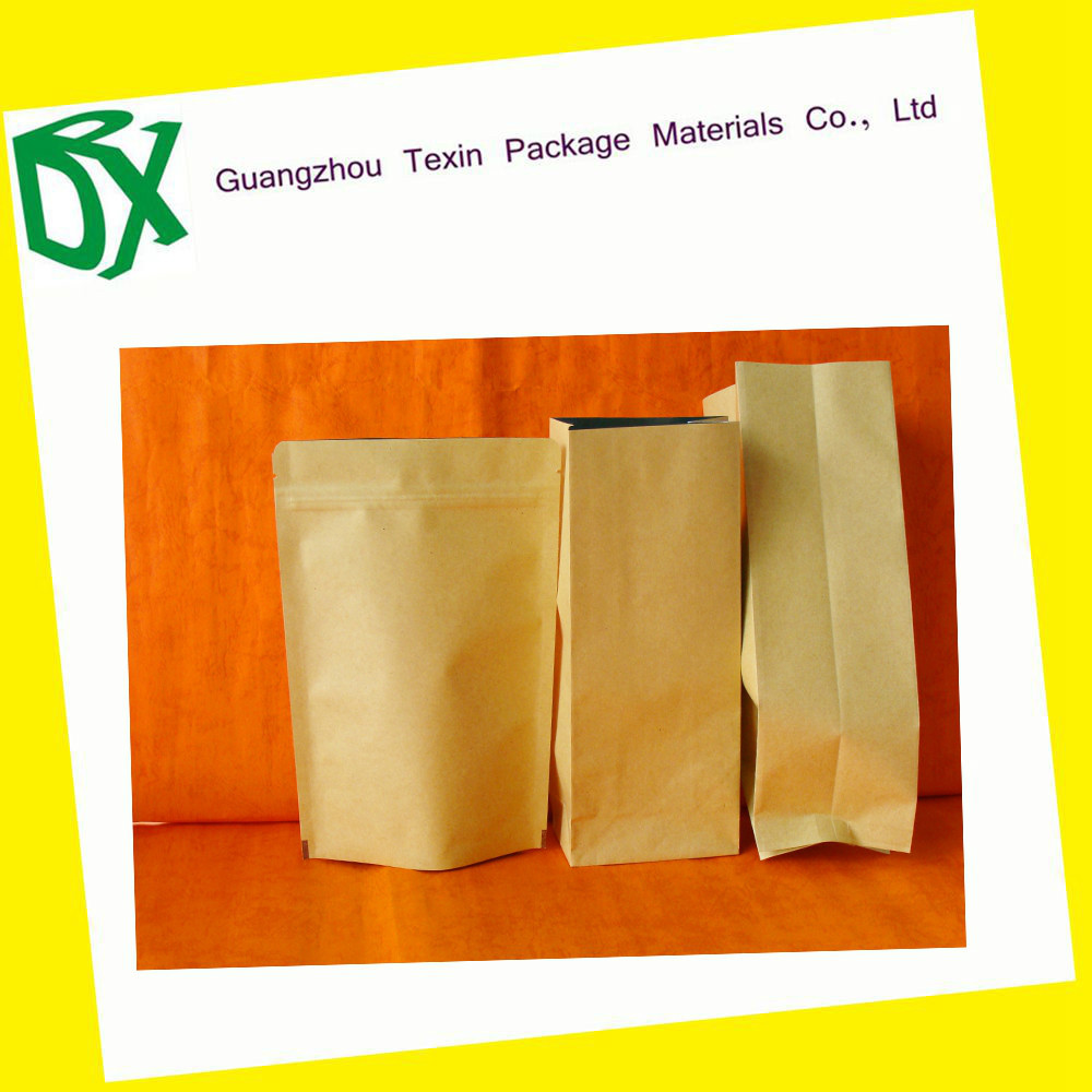 China Factory Supply stand up pouch Kraft paper bag with zipper For Tea