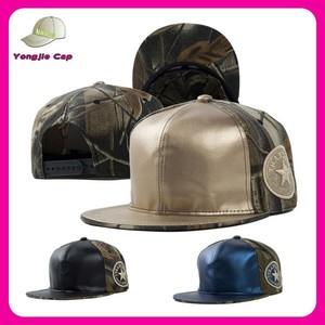 c250a70fdc6 2015 new design camo mix leather hip hop caps custom cheap flat brim  snapback cap