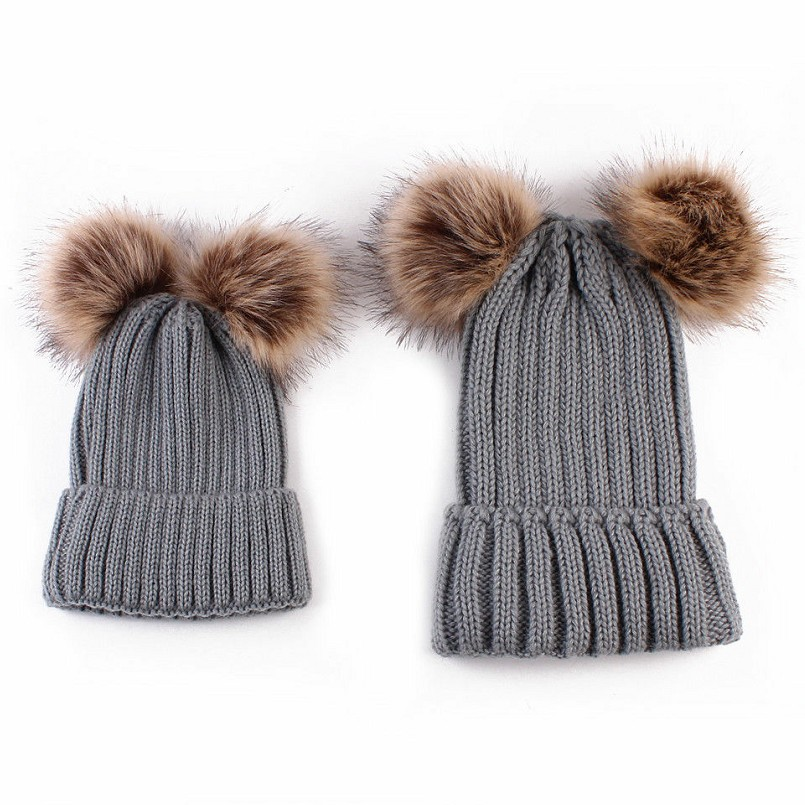 7af88baa049d 2019 Cheap Factory Children s Warm Knit Hats faux fur pom poms mom and baby  winter crochet knitted hats cap