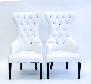 Modern White High Back Wedding Bride and Groom Chairs