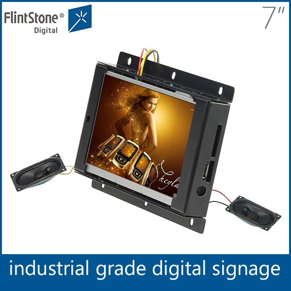 Flintstone 7 inch non-stop loop-play frameless pos display full color lcd display screen portable video player
