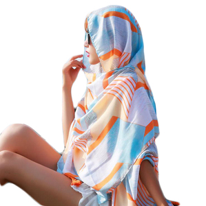 Custom printed women hot sale voile satin summer beach tudung bawal scarf