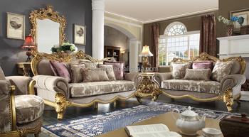 Vintage Arabic Style Solid Wood Gold Leaf Living Room Sofa Golden Painting Saloon Furniture