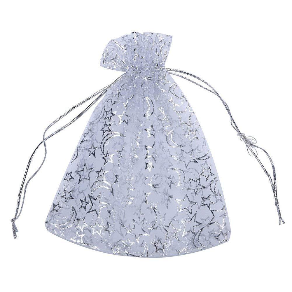 SODIAL(R) 20PCs White Star Moon Organza Gift Bags Pouches Wedding Christmas Gift,16cm x13cm(6 2/8 inch x5 1/8 inch)