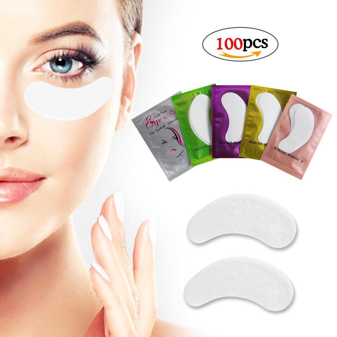 Eye Gel Pads 100 Pairs Set Lint Free Gel Eye Patch for Lash Extension Makeup False Eyelash Professional Under Eye Gel Pads 5 Colors Eye Mask Beauty Tool by LK LANKIZ