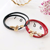 Fashion Leather Bracelet Stainless Steel Engraved Letter Bracelet Personalized Custom Charm Bracelet Jewelry Gift