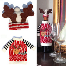 2pcs Cute Sweater Red Wine Bottle Cover Bags font b Santa b font Claus Dinner Table