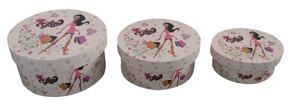 Multipurpose non-woven lined wooden round hat storage box with lid