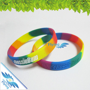 Ink filled Color Rubber Cool Imprint Silicone bracelets - Recycled Engraved Wristband