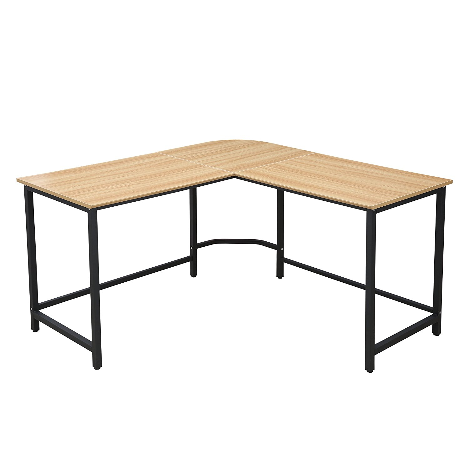 Poly and Bark Tristan Compact L-Shaped Office Desk in Natural, Black