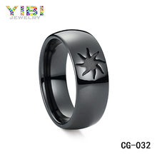 Black Semi Ceramic Fashion Ring, silver jewelry ring gift for girlfriend