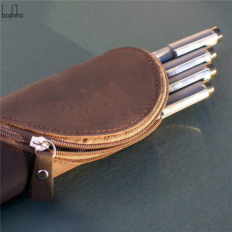 Boshiho leather pencil case gift pouch